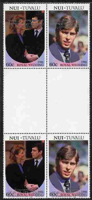 Tuvalu - Nui 1986 Royal Wedding (Andrew & Fergie) 60c with 'Congratulations' opt in silver in unissued perf inter-paneau block of 4 (2 se-tenant pairs) with overprint inverted on one pair unmounted mint from Printer's uncut proof sheet