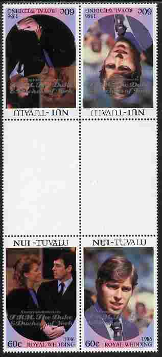 Tuvalu - Nui 1986 Royal Wedding (Andrew & Fergie) 60c with 'Congratulations' opt in silver in unissued perf tete-beche inter-paneau block of 4 (2 se-tenant pairs) with overprint inverted on one pair unmounted mint from Printer's uncut proof sheet