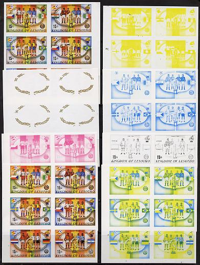 Lesotho 1982 Football se-tenant block of 6 x 8 imperf progressive proofs comprising the 5 individual colours plus 3 composite combinations incl the completed design, scarce (48 proofs, as SG 481-2, 485-6 & 489-90)