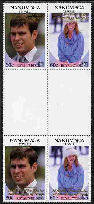 Tuvalu - Nanumaga 1986 Royal Wedding (Andrew & Fergie) $1 with 'Congratulations' opt in gold in unissued perf inter-paneau block of 4 (2 se-tenant pairs) with overprint inverted on one pair unmounted mint from Printer's uncut proof sheet