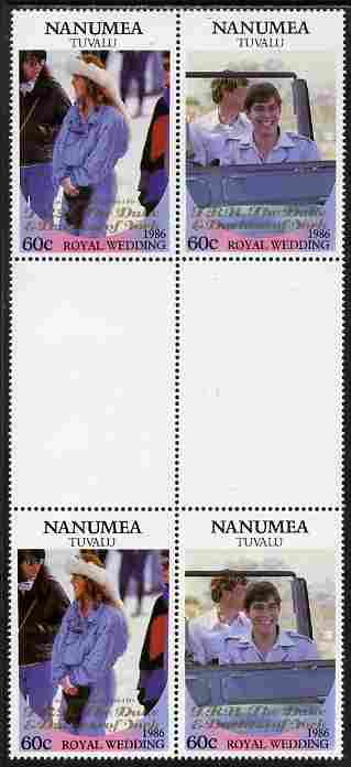 Tuvalu - Nanumea 1986 Royal Wedding (Andrew & Fergie) 60c with 'Congratulations' opt in gold in unissued perf inter-paneau block of 4 (2 se-tenant pairs) unmounted mint from Printer's uncut proof sheet