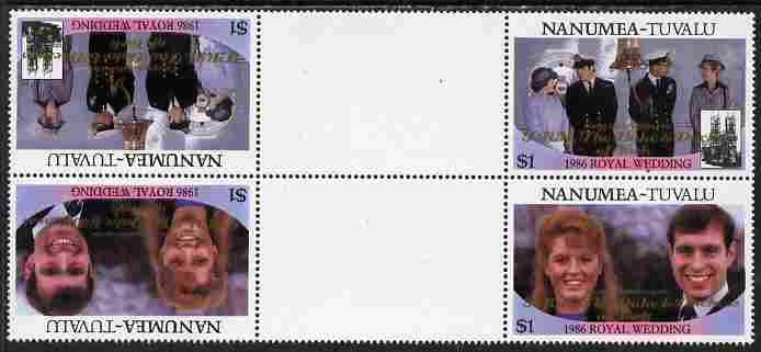Tuvalu - Nanumea 1986 Royal Wedding (Andrew & Fergie) $1 with 'Congratulations' opt in gold in unissued perf tete-beche inter-paneau block of 4 (2 se-tenant pairs) unmounted mint from Printer's uncut proof sheet