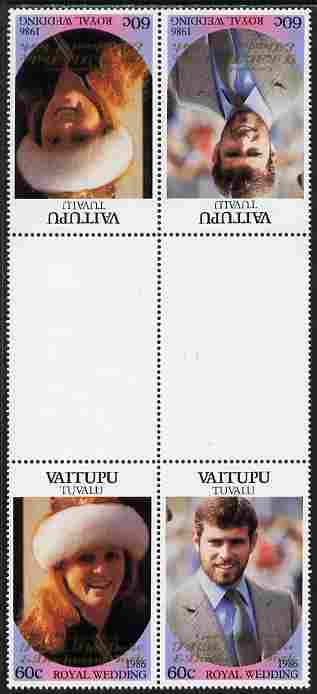 Tuvalu - Vaitupu 1986 Royal Wedding (Andrew & Fergie) 60c with 'Congratulations' opt in gold in unissued perf tete-beche inter-paneau block of 4 (2 se-tenant pairs) unmounted mint from Printer's uncut proof sheet