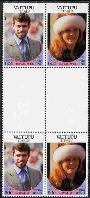 Tuvalu - Vaitupu 1986 Royal Wedding (Andrew & Fergie) 60c with 'Congratulations' opt in gold in unissued perf inter-paneau block of 4 (2 se-tenant pairs) unmounted mint from Printer's uncut proof sheet