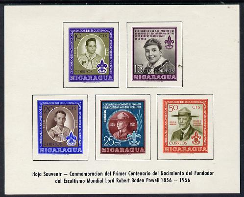 Nicaragua 1957 Birth Centenary of Lord Baden Powell imperf m/sheet, SG MS 1267a
