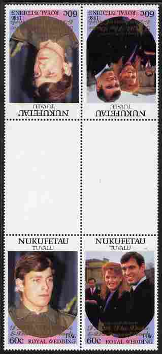 Tuvalu - Nukufetau 1986 Royal Wedding (Andrew & Fergie) 60c with 'Congratulations' opt in gold in unissued perf tete-beche inter-paneau block of 4 (2 se-tenant pairs) unmounted mint from Printer's uncut proof sheet, stamps on royalty, stamps on andrew, stamps on fergie, stamps on