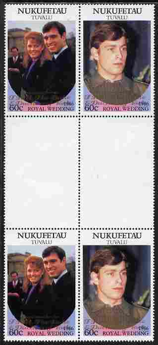 Tuvalu - Nukufetau 1986 Royal Wedding (Andrew & Fergie) 60c with 'Congratulations' opt in gold in unissued perf inter-paneau block of 4 (2 se-tenant pairs) unmounted mint from Printer's uncut proof sheet