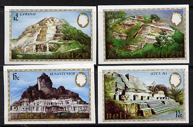 Belize 1983 Maya Monuments set of 4 in unmounted mint imperf singles (SG 747-50) gutter pairs & blocks available, price pro rata