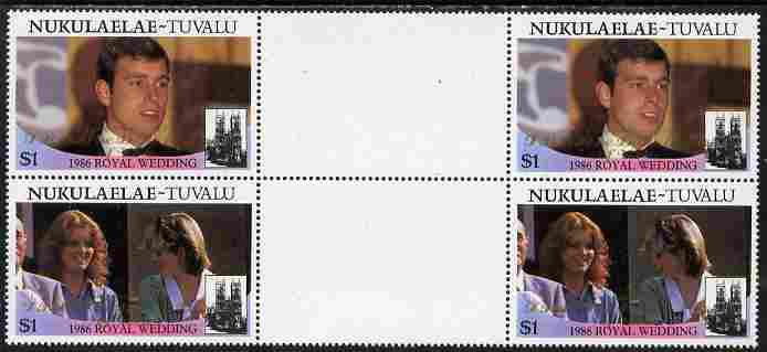 Tuvalu - Nukulaelae 1986 Royal Wedding (Andrew & Fergie) $1 with 'Congratulations' opt in gold in unissued perf inter-paneau block of 4 (2 se-tenant pairs) unmounted mint from Printer's uncut proof sheet