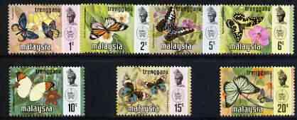 Malaya - Trengganu 1971 Butterflies definitive set of 7 complete unmounted mint (Bradbury Wilkinson printing), SG 110-16