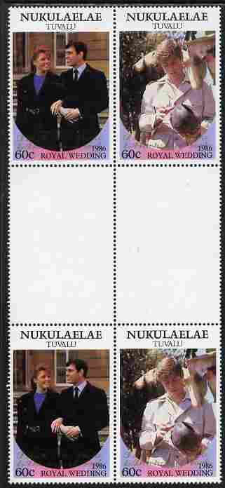 Tuvalu - Nukulaelae 1986 Royal Wedding (Andrew & Fergie) 60c with 'Congratulations' opt in gold in unissued perf inter-paneau block of 4 (2 se-tenant pairs) unmounted mint from Printer's uncut proof sheet