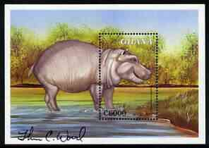 Ghana 2000 Fauna & Flora 6000c perf m/sheet (Hippopotamus) signed by Thomas C Wood the designer unmounted mint, SG MS 3015a