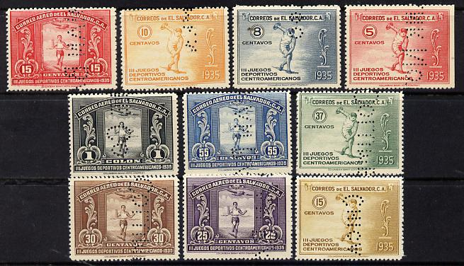 El Salvador 1935 Central American Games complete set of 10 values each perforated with part of the legend 'SPECIMEN COLOMBIAN BANK NOTE Co CHICAGO' (the full legend extending over 8 stamps) fine with gum and extremely scarce (as SG 826-35)