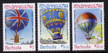 Barbuda 1983 Manned Flight set of 3 (SG 663-5) unmounted mint