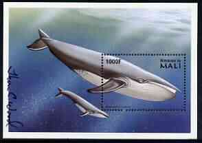 Mali 1997? Blue Whale 1000f perf m/sheet signed by Thomas C Wood the designer