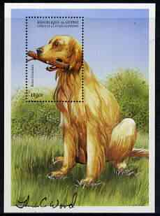 Guinea - Conakry 1999 Dogs 1500f perf m/sheet (Irish Setter) signed by Thomas C Wood the designer, Sc 1520