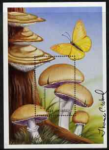 Angola 1999 Mushrooms perf m/sheet (Psalliota haemorrhoidaria) signed by Thomas C Wood the designer, unmounted mint SG MS 1510a