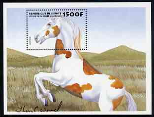 Guinea - Conakry 1999 Horses 1500f perf m/sheet (Mustang) signed by Thomas C Wood the designer, Sc 1515