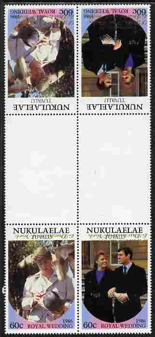 Tuvalu - Nukulaelae 1986 Royal Wedding (Andrew & Fergie) 60c with 'Congratulations' opt in gold in unissued perf tete-beche inter-paneau block of 4 (2 se-tenant pairs) with overprint inverted on one pair unmounted mint from Printer's uncut proof sheet