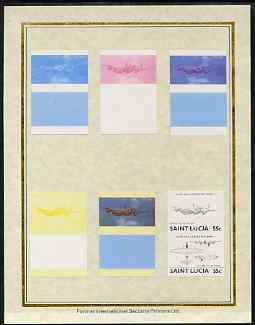 St Lucia 1985 Military Aircraft (Leaders of the World) 55c (Lancaster) set of 7 imperf progressive proof pairs comprising the 4 individual colours plus 2, 3 and all 4 col...
