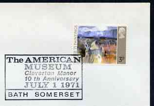Postmark - Great Britain 1971 cover bearing special cancellation for The American Museum, Bath