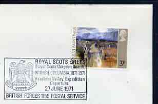 Postmark - Great Britain 1971 cover bearing illustrated cancellation for Royal Scots Dragoon Guards 'Headless Valley' Expedition (BFPS) showing an Eagle