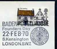 Postmark - Great Britain 1970 cover bearing illustrated cancellation for Baden Powell House, Founders Day
