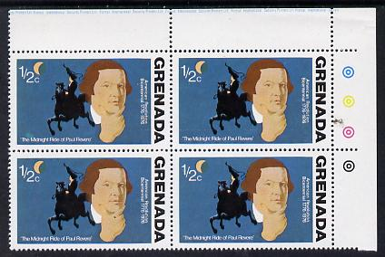 Grenada 1976 USA Bicentenary 1/2c (Paul Revere) corner block of 4, one stamp with green flaw above inscription (R1/3) unmounted mint