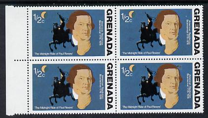 Grenada 1976 USA Bicentenary 1/2c (Paul Revere) marginal block of 4, one stamp with large flaw in background (R5/2) unmounted mint