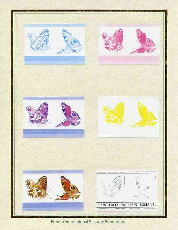St Lucia 1985 Butterflies (Leaders of the World) 15c set of 7 imperf progressive proof pairs comprising the 4 individual colours plus 2, 3 and all 4 colour composites mounted on special Format International cards (as SG 781a)