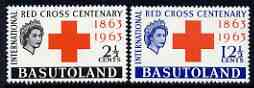 Basutoland 1963 Red Cross Centenary perf set of 2 unmounted mint, SG 81-82