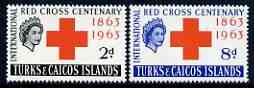 Turks & Caicos Islands 1963 Red Cross Centenary perf set of 2 unmounted mint, SG 255-56