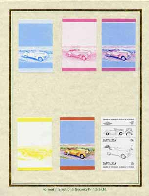 St Lucia 1985 Cars #3 (Leaders of the World) 15c Hudson 'Eight' set of 7 imperf progressive proof pairs comprising the 4 individual colours plus 2, 3 and all 4 colour composites mounted on special Format International cards (as SG 789a)