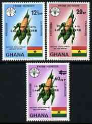 Ghana 1971 Lord Boyd Orr opt on Freedom From Hunger perf set of 3 unmounted mint (only a limited number of sets sold)