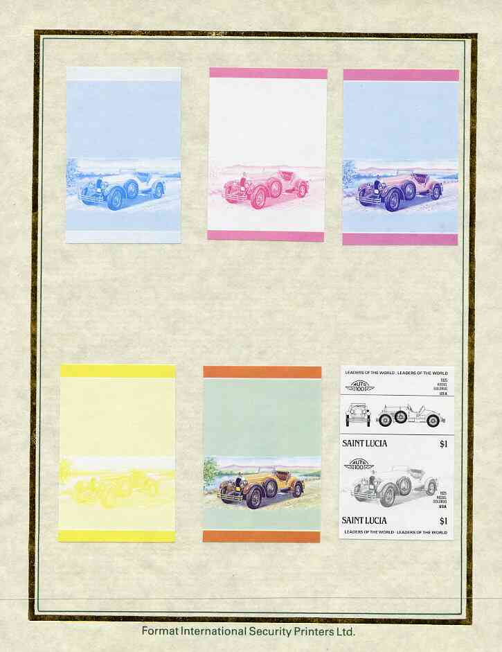 St Lucia 1985 Cars #3 (Leaders of the World) $1 Kissel Goldbug set of 7 imperf progressive proof pairs comprising the 4 individual colours plus 2, 3 and all 4 colour composites mounted on special Format International cards (as SG 793a)