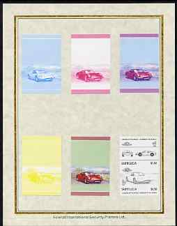 St Lucia 1985 Cars #3 (Leaders of the World) $1.50 Ferrari '246 GTS' set of 7 imperf progressive proof pairs comprising the 4 individual colours plus 2, 3 and all 4 colour composites mounted on special Format International cards (as SG 795a)