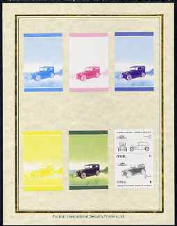 Tuvalu 1985 Cars #2 (Leaders of the World) 1c Rickenbacker set of 7 imperf progressive proof pairs comprising the 4 individual colours plus 2, 3 and all 4 colour composites mounted on special Format International cards (7 se-tenant proof pairs as SG 321a)