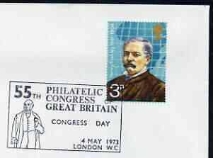 Postmark - Great Britain 1973 cover bearing illustrated cancellation for 55th Philatelic Congress of Great Britain (showing Rowland Hill)