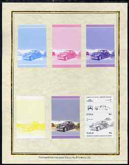 Tuvalu 1985 Cars #2 (Leaders of the World) 50c Packard Clipper set of 7 imperf progressive proof pairs comprising the 4 individual colours plus 2, 3 and all 4 colour composites mounted on special Format International cards (7 se-tenant proof pairs as SG 325a)