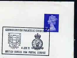 Postmark - Great Britain 1971 cover bearing illustrated cancellation for German-British Philatelic Exhibition (BFPS)