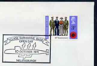 Postmark - Great Britain 1971 cover bearing illustrated cancellation for Clyde Submarine Base Open Day