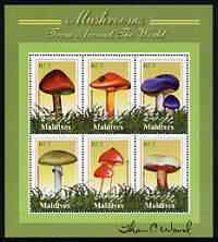 Maldive Islands 2001 (?) Fungi perf sheetlet #2 containing 6 values signed by Thomas C Wood the designer
