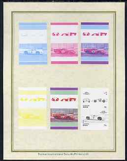 Tuvalu - Nanumea 1986 Cars #3 (Leaders of the World) 75c Lola T70 set of 7 imperf progressive proof pairs comprising the 4 individual colours plus 2, 3 and all 4 colour composites mounted on special Format International cards (7 se-tenant proof pairs)