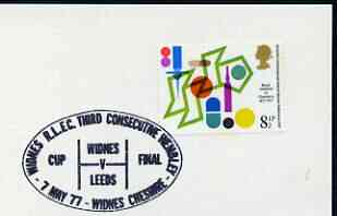 Postmark - Great Britain 1977 card bearing illustrated cancellation for Widnes RLFC Third Consecutive Wembley (Widnes v Leeds)