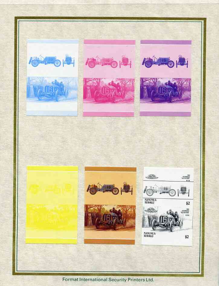 Tuvalu - Nanumea 1986 Cars #3 (Leaders of the World) $2 Locomobile 'Old Sixteen' set of 7 imperf progressive proof pairs comprising the 4 individual colours plus 2, 3 and all 4 colour composites mounted on special Format International cards (7 se-tenant proof pairs)