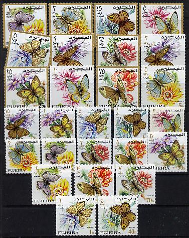 Fujeira 1967 Butterflies the magnificent perf set of 27 values unmounted mint (SG 167-93) Mi 159-85A