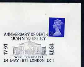 Postmark - Great Britain 1971 cover bearing illustrated cancellation for Anniversary of Death of John Wesley, showing Wesley's Chapel