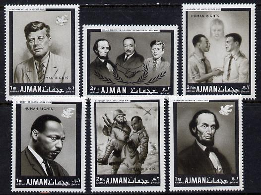 Ajman 1968 Human Rights (Kennedy, Lincoln & Martin Luther King) perf set of 6 (Mi 289-94A) unmounted mint