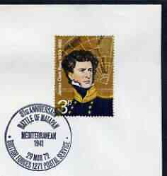 Postmark - Great Britain 1972 cover bearing illustrated cancellation for 31st Anniversary Battle of Matapan, Mediterranean (BFPS)BFPS)