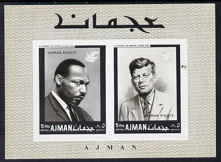 Ajman 1968 Human Rights (Kennedy & Martin Luther King) perf m/sheet (Mi BL 44A) unmounted mint